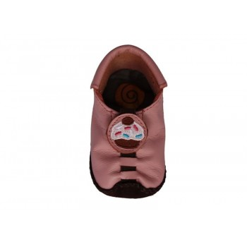 Mocassins fille en cuir Rose Cupcake